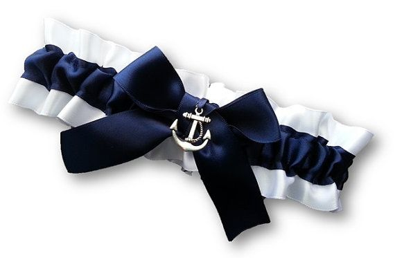 Wedding Garter SINGLE or SET , beautiful  navy and white Nautical themed garter on Etsy, $17.82