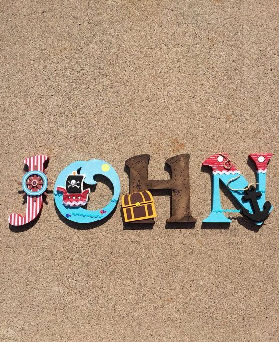 Pirate Wooden Letters Pirate Decor Pirate by KidMuralsbyDanaR
