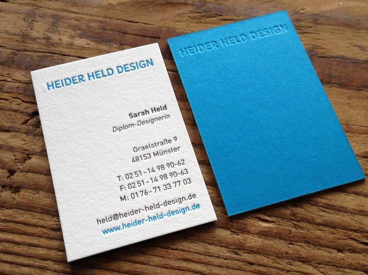 2-farbige Visitenkarten für das Designbüro Heider Held Design in Münster. Das besondere die kaschierte cyanfarbene Rückseite mit farblosem Letterpresseindruck. www.hochdruckgebiet.de