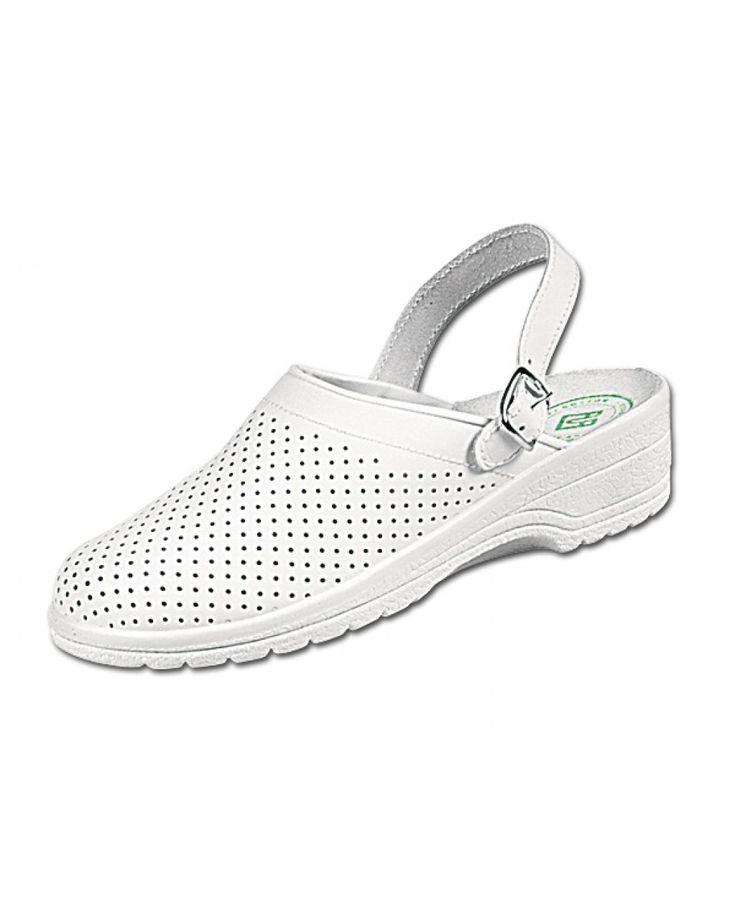 Удобная обувь из натуральной кожи с ремешком для регулировки и фиксации на ноге.  Ремешок используется в двух положениях.   Перфорированный верх обеспечивает вентиляцию ноги.   Крепление подошвы: Клеевой Материал подошвы: (ПВХ)