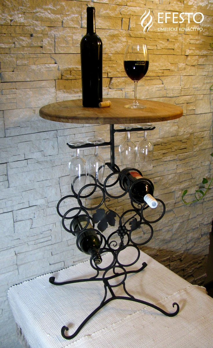 ručne kovaný stojan na víno vrchná doska masív buk dub 130 €