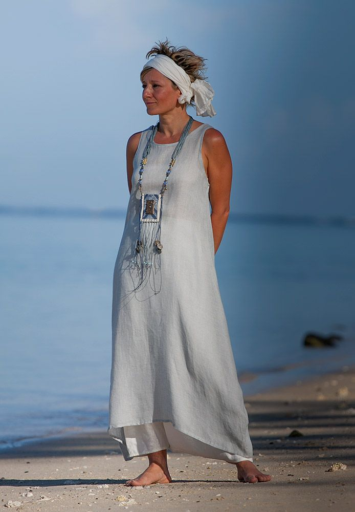 Love the necklace! AMALTHEE CREATIONS Linen Gauze tunic and sarouel skirt
