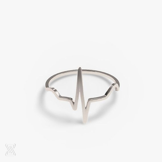 science jewelry: human heart beat silver ring  by somersault1824