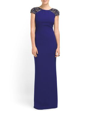 Cap Sleeve Jeweled Gown