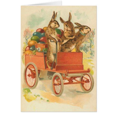 Vintage Easter Bunny Card - click/tap to personalize and buy