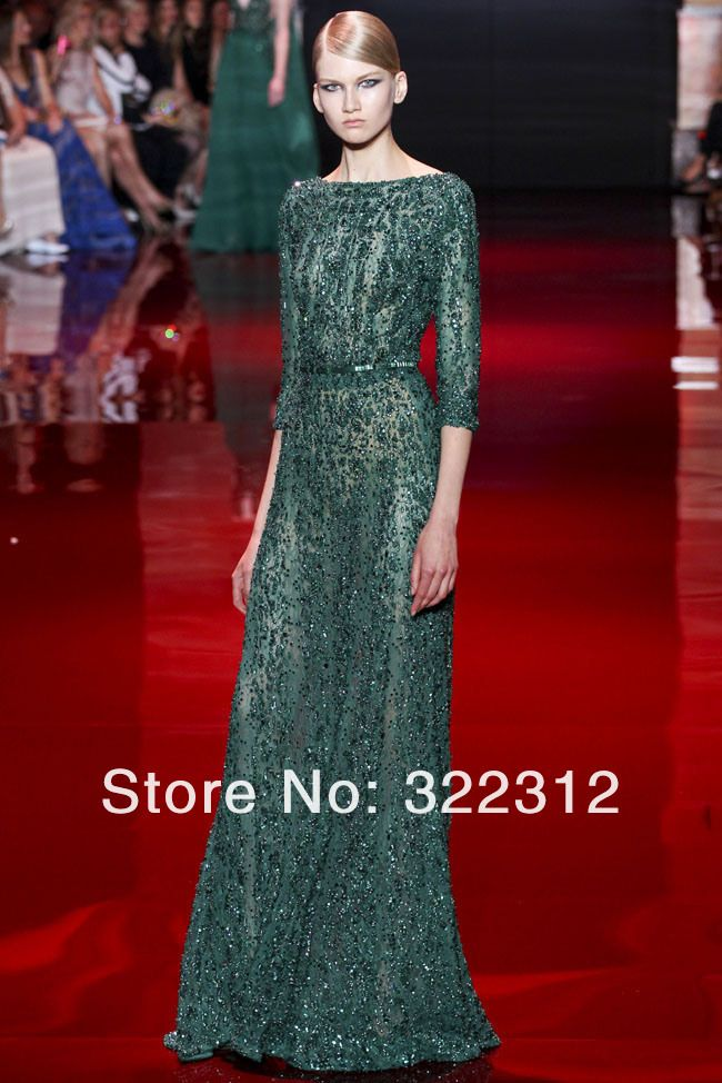 2014 New Arrival Elie Saab Couture Hunter Green Half Sleeve Beads Modest Floor Length Evening Dress Prom Dresses Evening Gown $859.99 Available in ivory