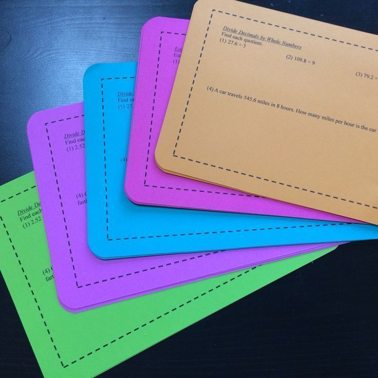 FREE Math Task Cards for 5th-6th grade math! This unit focuses on decimal operations and exponents. These are a more basic version of my enrichment task cards. Each task card includes 4-5 math problems for a specific concept (28 total problems). Includes decimal multiplication, decimal division, evaluating exponents, and more!