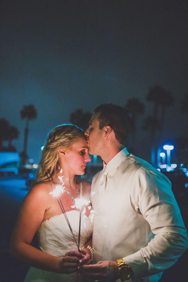 Romantic wedding sparkler portrait of the bride and groom (Photo by Ryan Horban Photography)