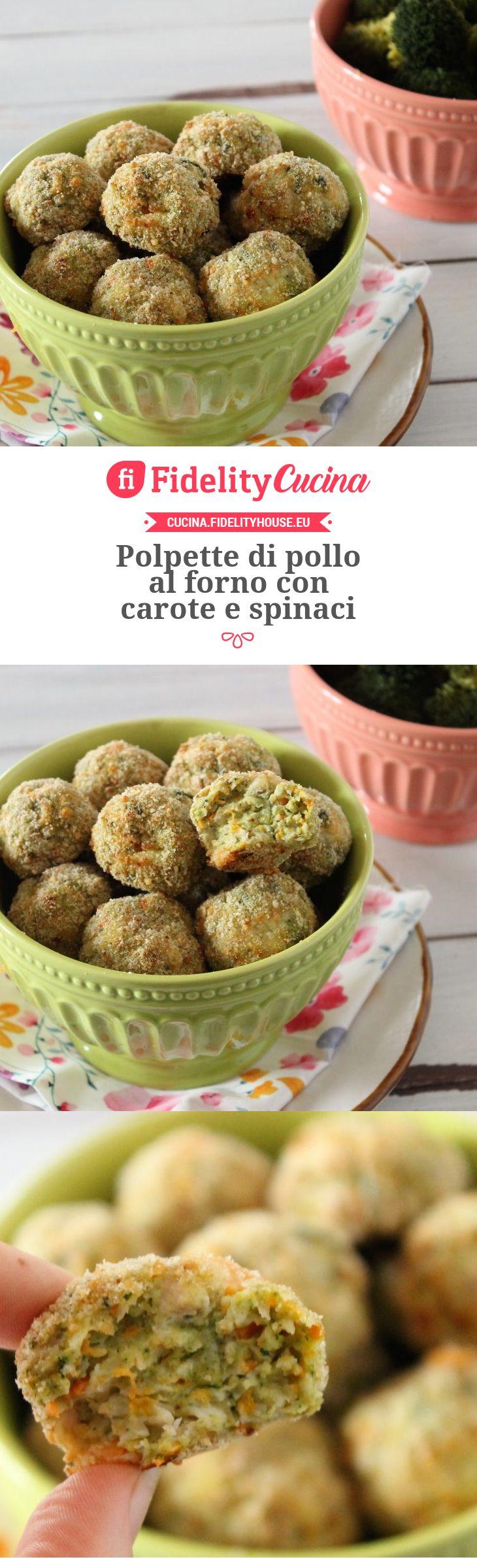 Polpette di pollo al forno con carote e spinaci