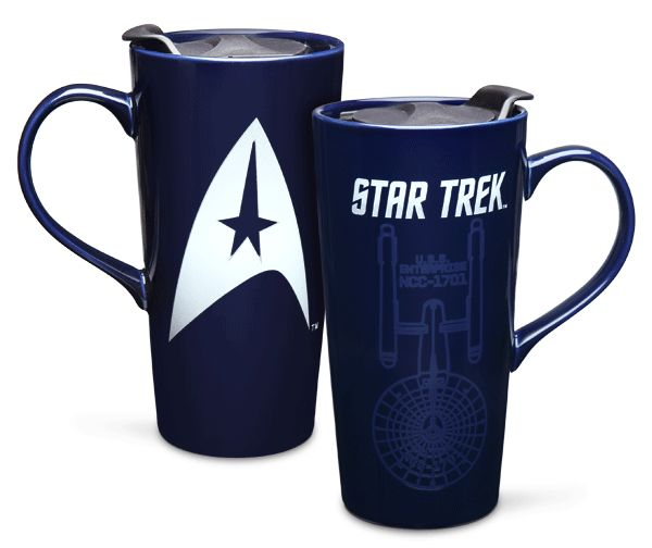 Wherever you boldly go, make sure that you have coffee. This Star Trek 20oz Ceramic Heat Change Travel Mug will hold it for you.  This deep blue travel mug is the vessel from which a Trek fan can boldly drink. The Enterprise appears on one side when hot water is added. It is perfect for the br