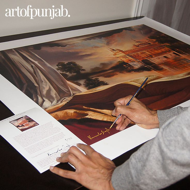 The Abode of Nanak paintings by Kanwar Singh.  Premium Canvas prints hand-signed by the artist as part of a limited edition series.  All canvas prints available atartofpunjab.com/shop starting at $325 CAD.