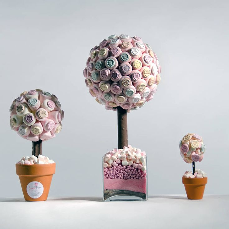 marshmellow trees. White with red sweets on.