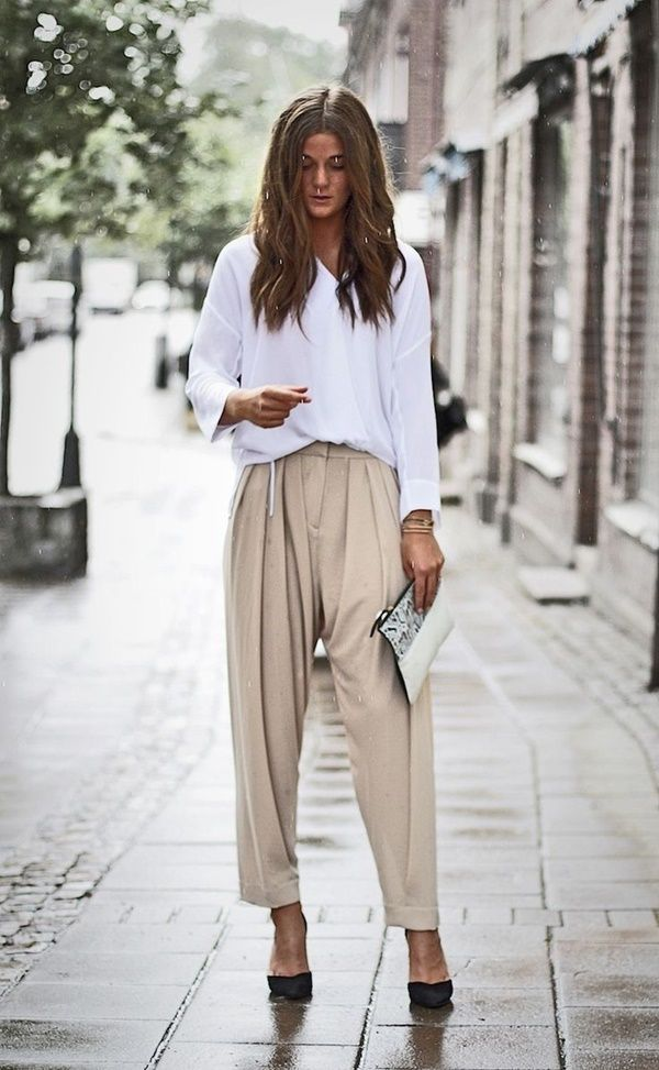 white top and casual trouser pants