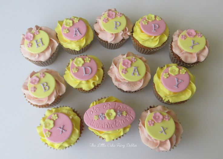 Floral Birthday Cupcakes  www.littlecakefairydublin.com www.facebook.com/littlecakefairydublin
