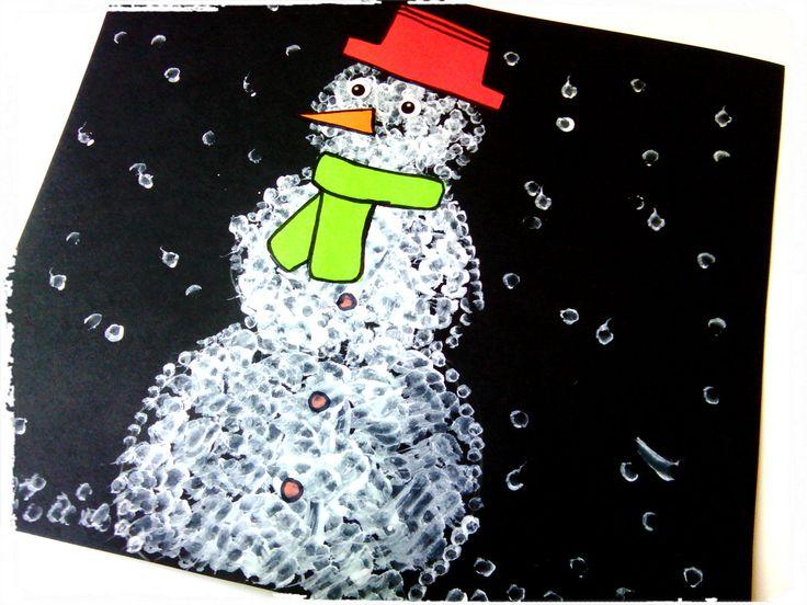 bricolage d 39 hiver bonhomme de neige en coton tige bricolage enfant hiver pinterest bricolage. Black Bedroom Furniture Sets. Home Design Ideas