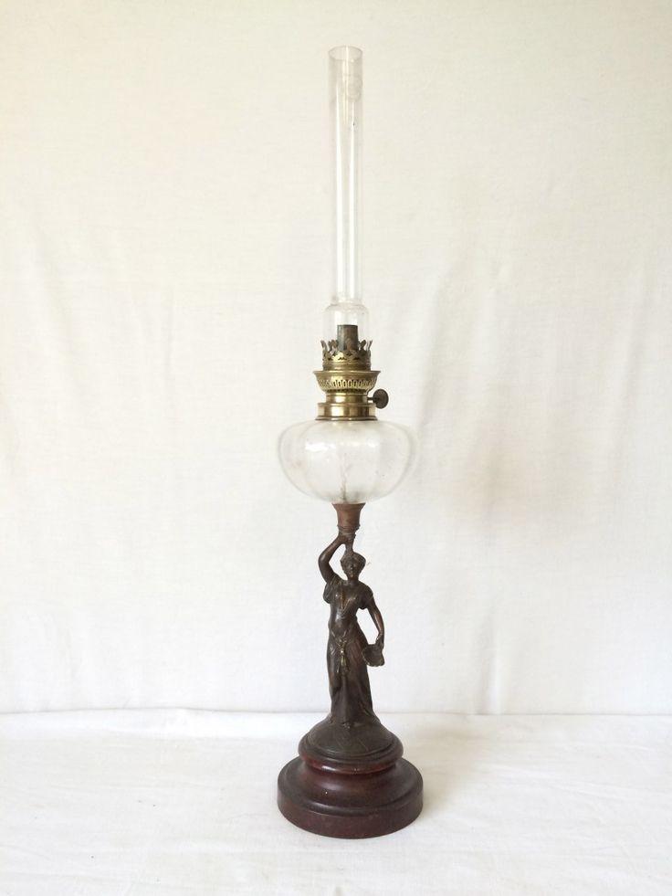 Lampe à Pétrole ancienne-personnage-statue de femme Début XXeme – ART NOUVEAU