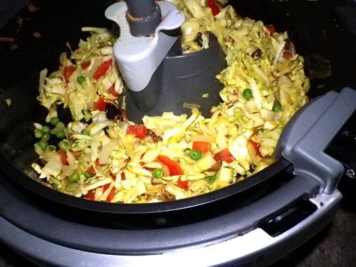 Cabbage, Peas, Ginger And Red Pepper Stir Fry for Actifry