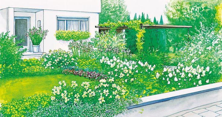Eine Stützmauer, ein paar Sträucher und eine große Rasenfläche – viel mehr gibt dieser Vorgarten nicht her. Höchste Zeit für eine Runderneuerung. Wir präsentieren Ihnen dazu zwei Gestaltungsideen mit Pflanzplänen zum herunterladen.