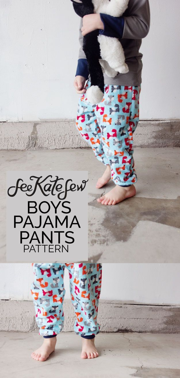 Boys Pajama Pants Sewing Pattern | fox pajama patterns | diy pajama pants | how to sew pajama pants | pajama pants pattern for kids | free pajama pants pattern || See Kate Sew #pajamapantspattern #diysewing #sewingpattern
