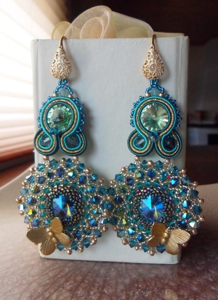 Soutache and Swarovski Earrings -  Serena Di Mercione Creations