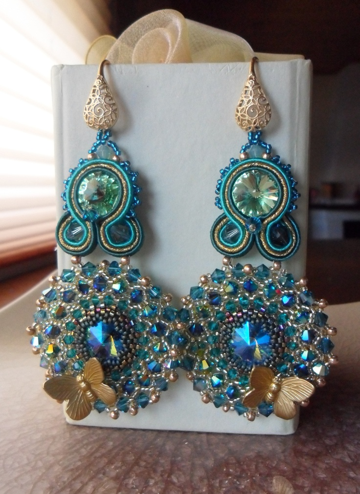 Soutache and Swarovski Earrings