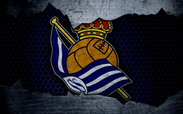 Télécharger fonds d'écran De la Real Sociedad, 4k, La Liga, football, emblème, logo, San Sebastian, en Espagne, club de football, le métal de la texture, de grunge
