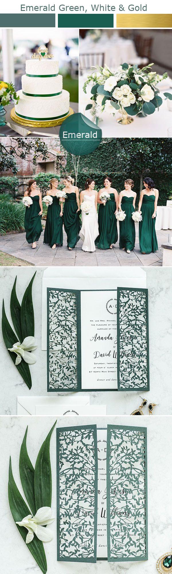 Delicate emerald laser cut wedding invitations
