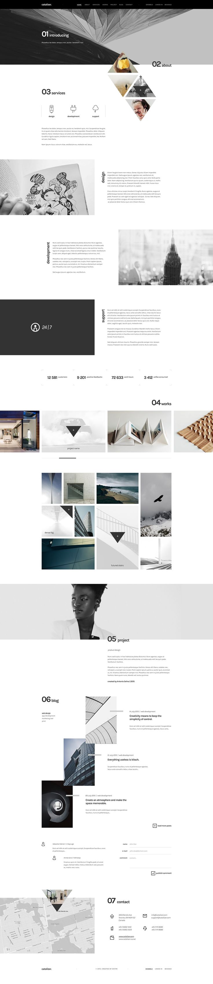 catalizer. is a comprehensive template for widespread use. Contains everything you should include modern page. Each PSD file is layered and contains an overview of the hierarchy of groups and layers for easy work. Your pictures can replace just a few clic…