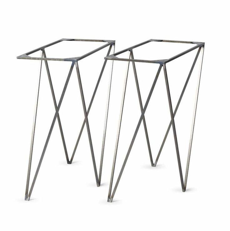 &New Modern British Furniture Pair Vintage Industrial Steel Trestle Table Legs