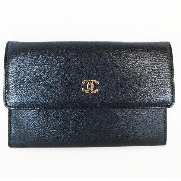 【中古】CHANEL(シャネル) ココマーク 二つ折り財布 カーフ レザー ブラック ゴールド金具/正面のココマークがアクセントになっています。飽きのこないシンプルさで幅広い年齢層の方にお使いいただけます。//新品同様・極美品・美品の中古ブランドバッグを格安で提供いたします。/¥34,800