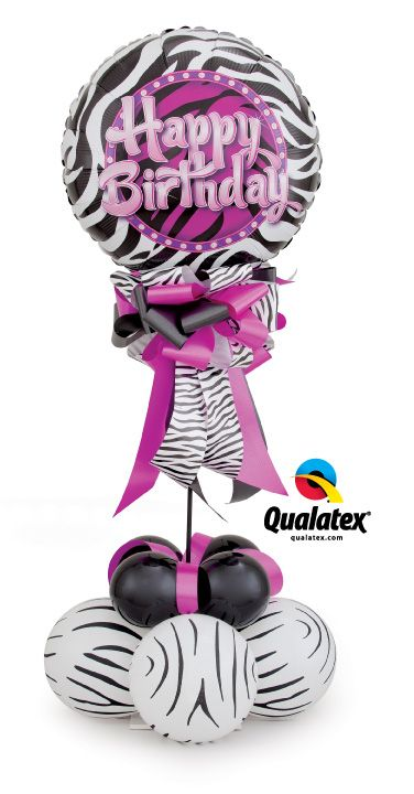 Go wild with #zebra printed balloons and coordinating ribbon! This trendy balloon design is perfect for a #birthday delivery or party centerpiece.