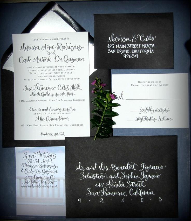 wedding invitations east london south africa%0A Calligraphy Wedding Invitation  Classic Custom Design
