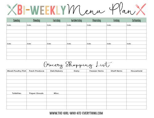 Bi-weekly Menu Planner
