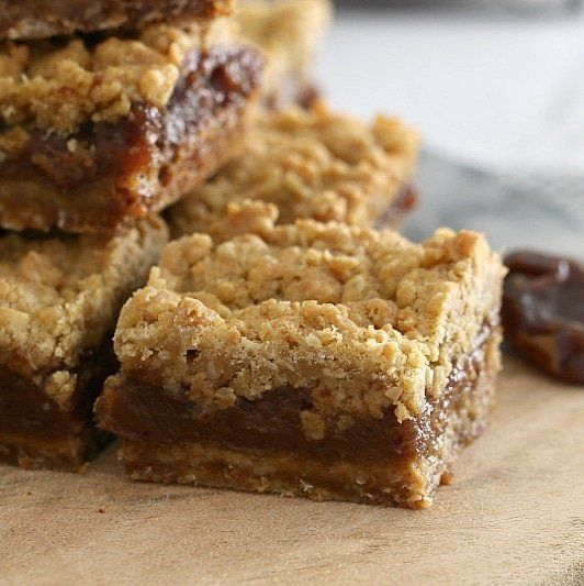 Classic Oat & Date Crumble Slice - an oaty base, sweet date filling and crumbly topping... it doesn't get much better than this!