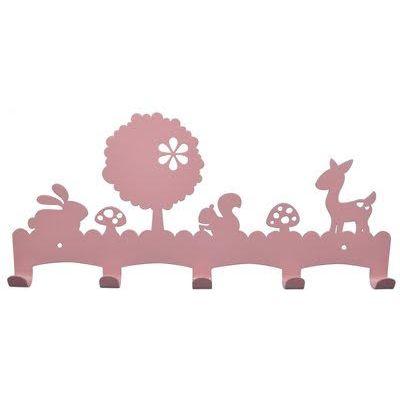 Kapstok woodland roze. Coat hanger for kids room pink