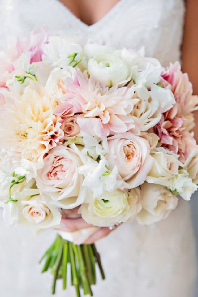 Hand tied bouquet white, blush pink and peach flowers