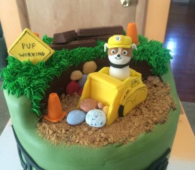 Custom Edible Fondant Paw Patrol Cake Topper Rubble Bulldozer Handmade 3D Figure
