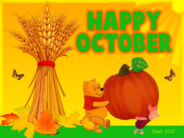 Happy October quotes autumn months winnie the pooh october