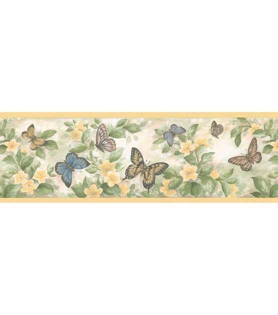 Butterfly Floral Border Wallpaper Border Yellow Vinyls