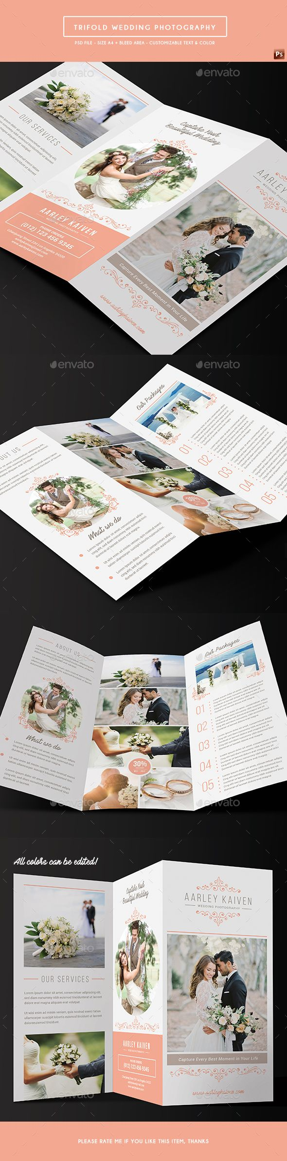 Wedding Photography Trifold — Photoshop PSD #wedding photography #photographer poster • Download ➝ https://graphicriver.net/item/wedding-photography-trifold/19695740?ref=pxcr