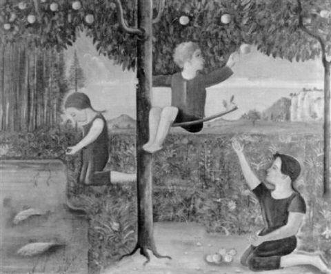 Spielende Kinder am Teich von Theo Modespacher, 1930
