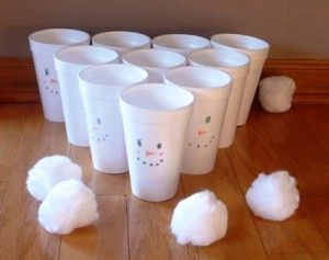 Indoor Snowball Toss Game- pom poms and cups. PMP re-inforcement game for terms 1 and 4?