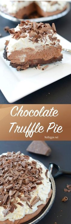 Chocolate Truffle Pie - this pie is amazing! Just look at all those chocolate layers   get the recipe on NoBiggie.net