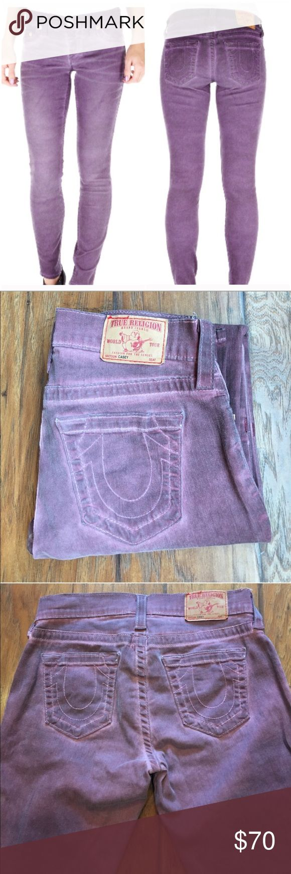 """True Religion Casey Skinny Stonewash Jeans You'll fall in love with these True Religion Casey Skinny Jeans in Purple. The purple denim also has a lighter stonewash effect adding a trendy distressed feel to the garments. The true religion branding is included on the hardware and the jeans feature a classic 5 pocket design. Wear with a loose black vest and black leather ankle boots for a cool rock and roll look. EUC!  98% Cotton 2% Elastane  Fit: Skinny Waist: 28"""" Color: Purple stonewash Thigh…"""