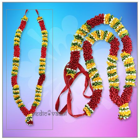Artificial Flower Haar Garlands wholesale and Supplier Vedicvaani.com Antic Design garlands for god and goddess online, Gemstone Har for Diety and Photo Frame. Graceful Garland, Artificial garland made of Satin flowers in maroon,white,orange,green colour.  Flower garlands have the capacity of uplifting the aura of any place, a smile on your face just through their presence. These garlands are ideal for offering on deity idols, altar, entrance doors.