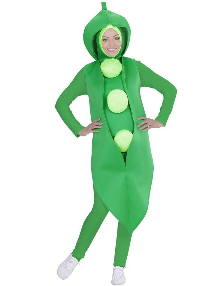 Grüne Erbse - Kostüm für Erwachsene: Dieses Grüne Erbse - Kostüm für Erwachsene besteht aus einem Einteiler. (T-Shirt, Hose und Schuhe nicht inbegriffen)Der grüne Anzug ist ärmellos und läuft vorne spitz zu. Hinten reicht er etwa...
