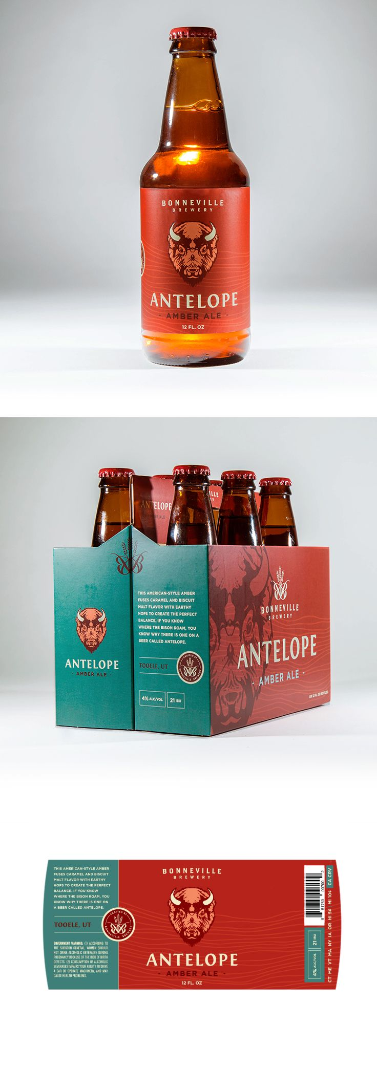 Antelope Ale Box and Label design by Epic Marketing for Bonneville Brewery. #packagingdesing #graphicdesing #labeldesign #beer #beerlabel