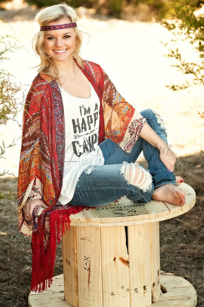 KIMONO - Headband - Graphic Tee - Destroyed Jeans - Gypsy Cowgirl