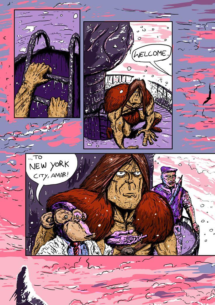 Page 21 of Barbarian Adventure  #Pulp #Barbarian #Monkey #StatueofLiberty #Comics #Coloring #MakeArt #MakingComics