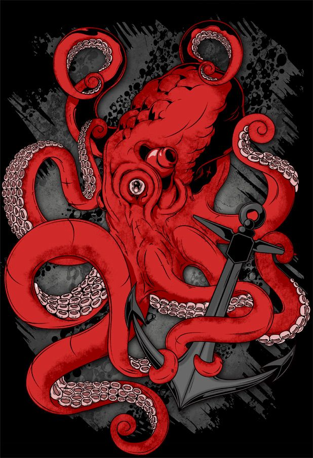 Beautiful red and grey cephalopod and anchor illustration